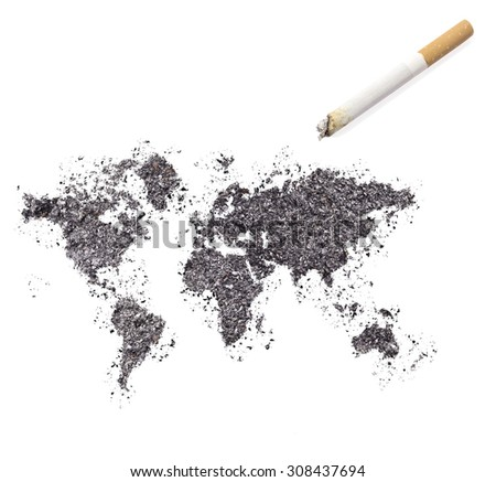 The country shape of the world made of tobacco ash and a cigarette.(series)