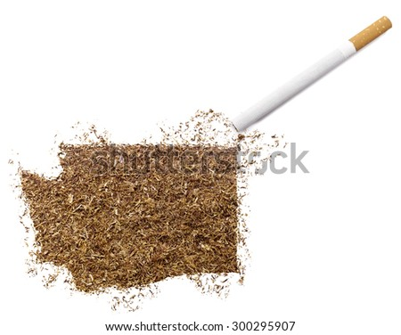 The country shape of Washington made of tobacco and a cigarette.(series)