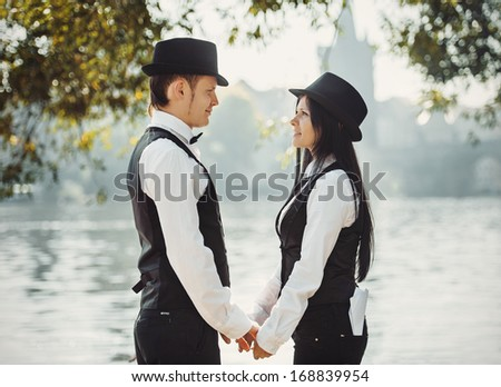 The couple of gangsters in Prague - stock photo