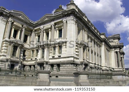 The Court of Laws (Justitiepaleis van Brussel, Palais de Justice de Bruxelles) located in Brussels. - stock photo