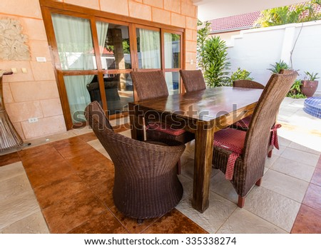 the courtyard of an house outdoor - stock photo