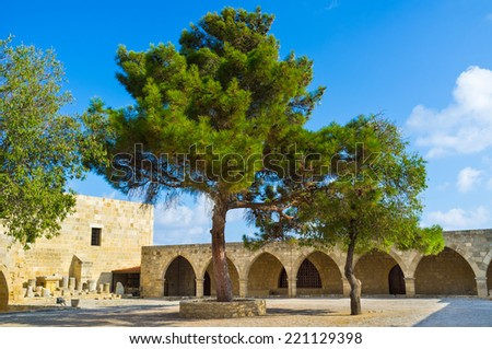 The courtyard of the museum of the Aphrodite Sanctuary, located at the Lusignan castle, Cyprus. - stock photo