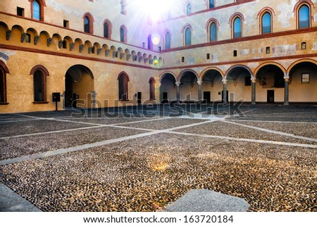 the courtyard of the old castle in old town of Milan, Italy - stock photo