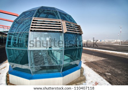 The cover of entrance to the subway, Prague Letnany, Czech republic - stock photo