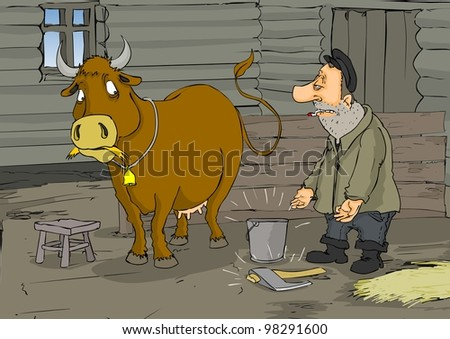 The cow is a choice - give milk or meat - stock photo