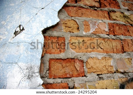 the cracked wall texture - stock photo