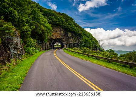 The Craggy Pinnacle Tunnel, on the Blue Ridge Parkway in North Carolina. - stock photo