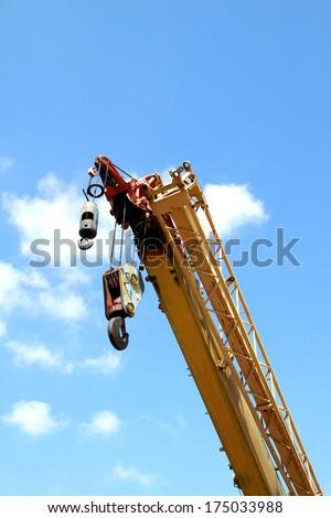 The crane hook of crane truck - stock photo