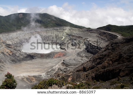 The crater of poas volcano seen on a clear day - stock photo