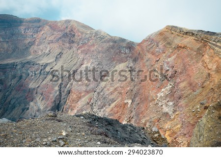 The crater of the very active Santa Ana Volcano in El Salvador - stock photo