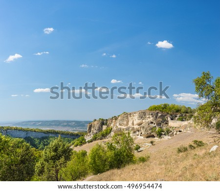 The Crimean mountains. Landscape view of blue sky and the plateau of Chufut-Kale. Crimea, Russia