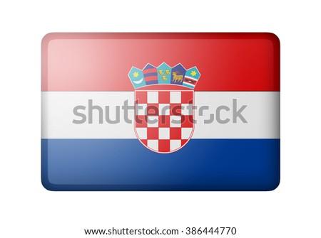 The Croatian flag. Rectangular matte icon. Isolated on white background. - stock photo