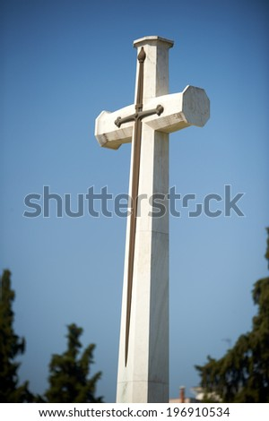 The Cross of Sacrifice, Lembet Road WWI british cemetery, Thessaloniki, Greece - stock photo