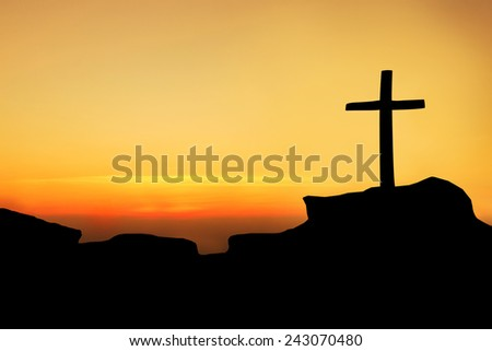 The cross on top a mountain. - stock photo