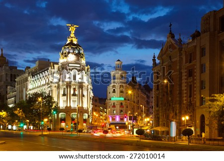 The Crossing  Calle de Alcala and Gran Via in night. Madrid, Spain - stock photo