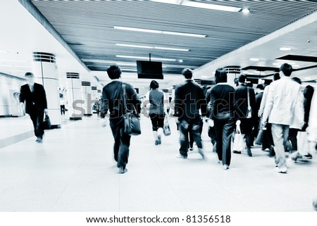 the crowd of a subway station. - stock photo