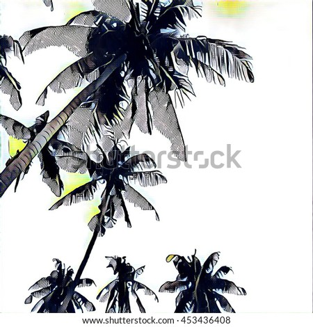 The crown of palms on white sky background. Digital illustration in sketching style. Square image for backdrop or print. Tropical summer sketch with palm silhouettes. Natural landscape