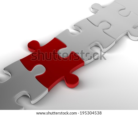 The crucial link  Red Jigsaw Piece links Bridge - stock photo
