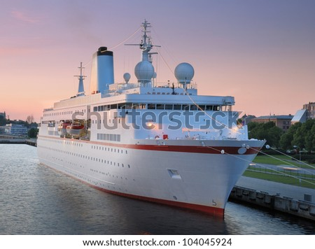 The cruise liner in seaport, Riga, Latvia. - stock photo