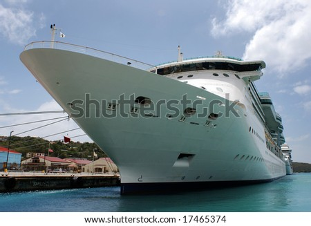The cruise liner in St.Thomas island port, U.S. Virgin Islands.