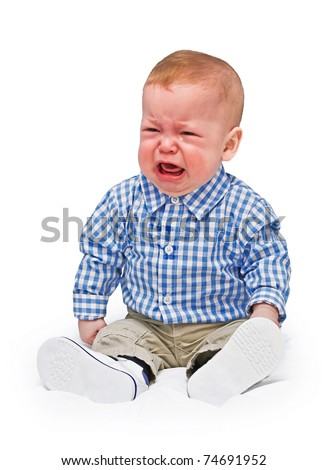 The crying boy in tears, on  white background - stock photo