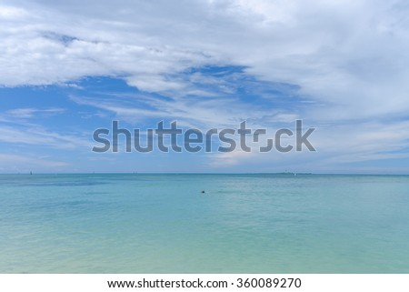 The crystal clear and shallow waters on the islands of the tropical Dry tortugas allow for many water activities - stock photo