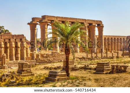 The crystal clear blue sky, the Temple of Luxor and a palm tree, HDR Image.
