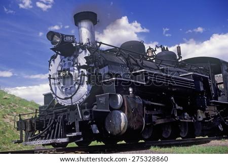 The Cumbres and Toltec Scenic Railroad traveling from Chama, New Mexico to Antonio, Colorado - stock photo