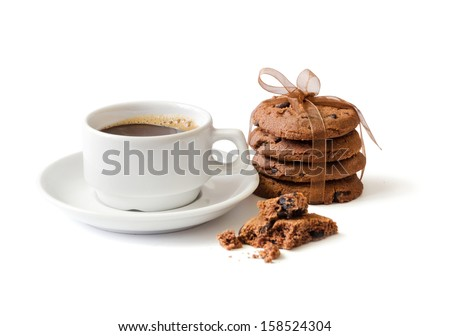 the cup of coffee and chocolate cookies are isolated on the white - stock photo