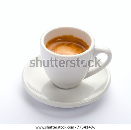 The cup of espresso coffee.
