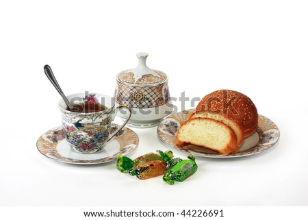 The cup of strong tea tones up, invigorates and gives mood - stock photo
