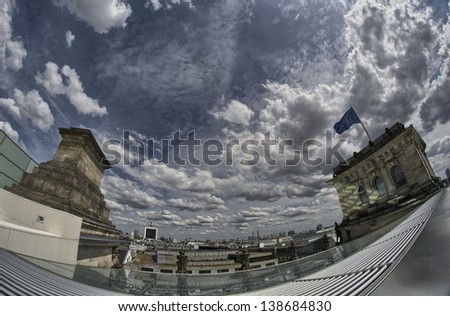 The Cupola on top of the Reichstag building in Berlin - Germany - stock photo