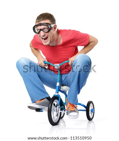 The curious man on a children's bicycle, on white background - stock photo