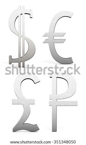 The currency symbols isolated on white background. Dollar, Euro, Pound, Ruble. 3d rendering. - stock photo