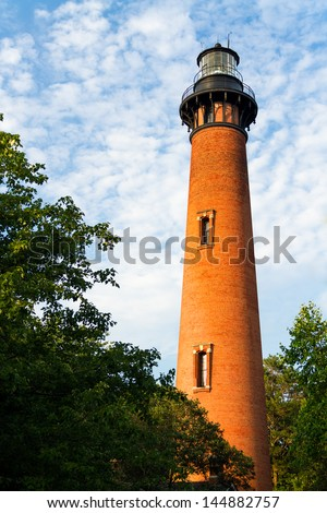 The Currituck Beach Lighthouse in Carolla, North Carolina was left unpainted to distinguish it from other lighthouses on the Atlantic Coast giving one an appreciation for the number of bricks used.