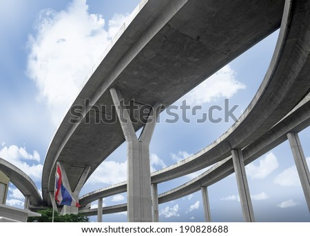 The curve of elevated expressway, Thailand. - stock photo
