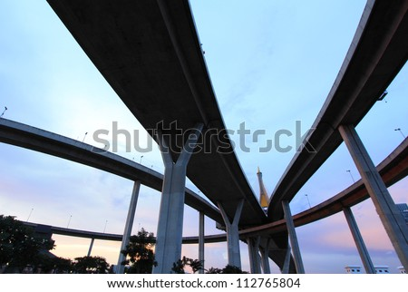 The curve of suspension bridge at Bangkok in Thailand - stock photo