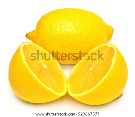 The cut lemon isolated on white background. Tropical fruit. Flat lay, top view