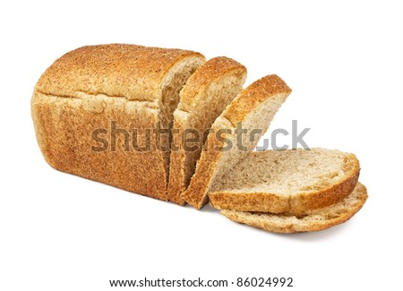 The cut loaf of bread isolated on white - stock photo