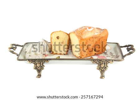 The cut loaf of bread with reflection isolated on white - stock photo