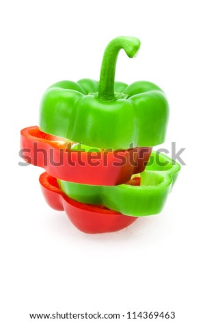 the cut red and green pepper also is difficult by strips in a single whole, is photographed on a white background