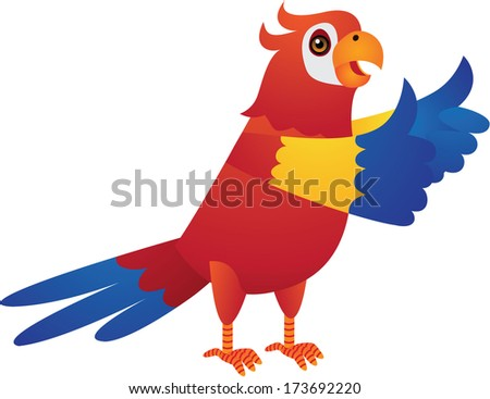 The Cute Red Parrot Cartoon Illustration - stock photo