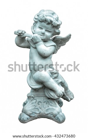 The cute statue playing flute instrument isolated on white background.Angel sculpture - stock photo