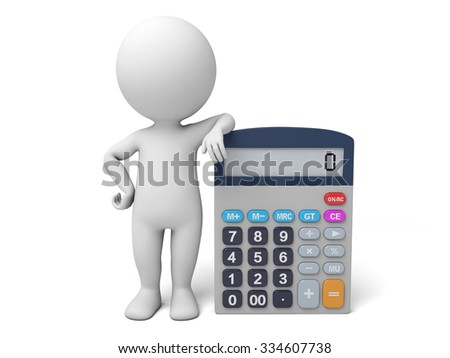 The 3D guy and a calculator - stock photo
