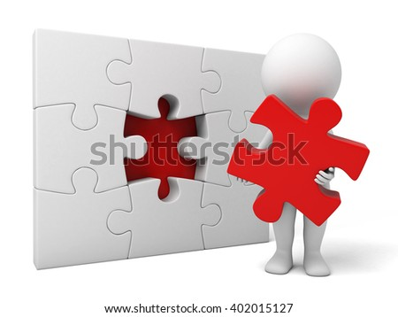 The 3d guy and a jigsaw puzzle
