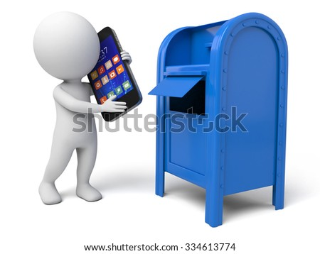 The 3d guy and a mailbox - stock photo