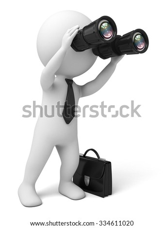 The 3D guy and a telescope - stock photo