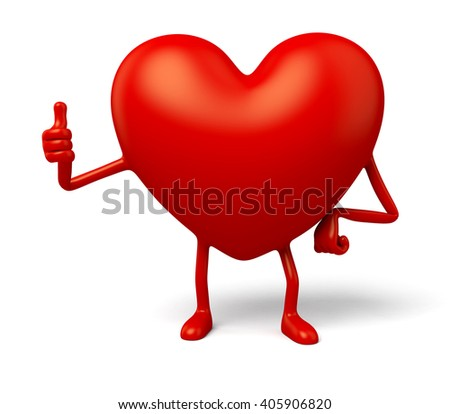 The 3d heart made a gesture of personality - stock photo