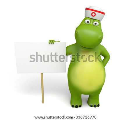 The 3d hippo and a placard