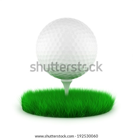 The 3d illustration of a  golf ball on green lawn         - stock photo